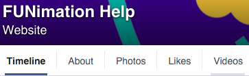 Funimation top navigation on facebook page