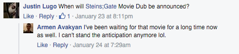 no one responding to posts on Funimation facebook page